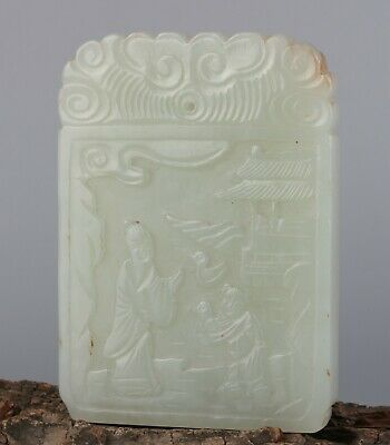 Chinese Exquisite Hand-carved Old man child Carving Hetian jade Pendant