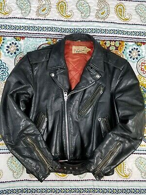 Hercules Sears Vintage 50s Black Steer Hide Leather Motorcycle Jacket Sz 36 USA
