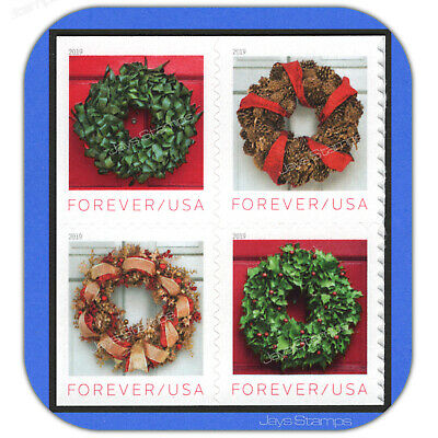 2019  HOLIDAY WREATHS  Block of 4 USPS Forever® MINT Stamps in cat order  #5427a