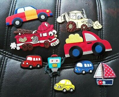 Fire Engine Truck, cars, digger, robot - Iron On Patch Badge Applique Boys DIY