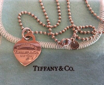 Tiffany & Co PLEASE RETURN TO HEART Pendant Charm necklace Sterling Silver 16 In