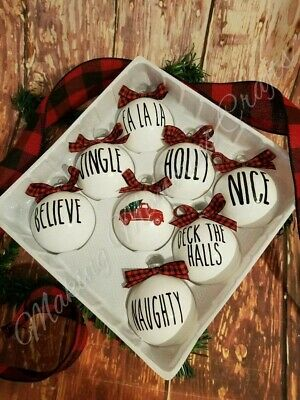 Rae Dunn Inspired Red Truck 8 Christmas Glass Ornaments  Farmhouse Style