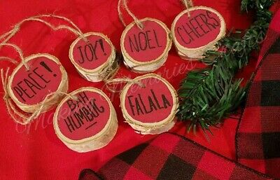 Rae Dunn Inspired 6 Red Christmas Wood Slice Ornaments  Farmhouse Style