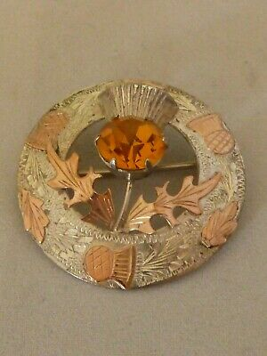 Vintage Scottish sterling silver and 9ct gold thistle brooch - Glasgow 1957