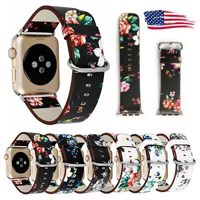 Apple Watch Womens Floral Leather Band iWatch Strap Bracelet 44mm 40mm 42mm 38mm