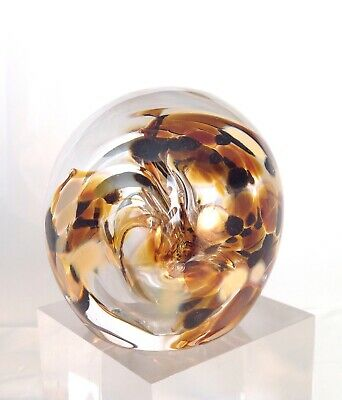 Gold & Brown Swirl Funnel Bubles Glass Paperweight Signed