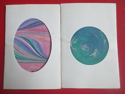 set 2 handpainted marbling NEEDLEPOINT canvas abstract PEG LAFLAM