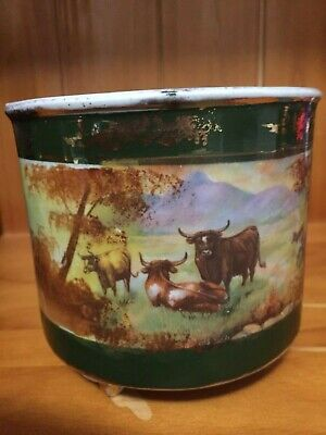 JARDINIERE PLANTER DEPICTING CATTLE  I BELIEVE THIS TO BE 1920's to 1940.s