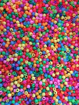 ~~RARE BEADS~~200+   Hard Plastic Mixed Coloured Beads.size 3mm