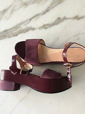 Robert Clergerie 'Ekora' Platform Sandal in Suede and Patent Leather size 41.5
