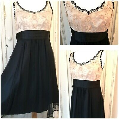 Next silk dress size 14 Black Gold  Party Cruise Evening Occasion VGC