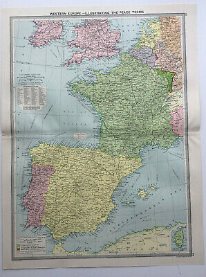 Map Of Western Europe Peace Terms Spain France Great Britain 1930 Antique Large
