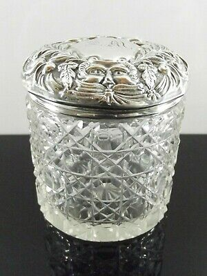 Antique Dressing Table Jar With Silver Lid Hallmarked Chester 1900 Ref 1089/3