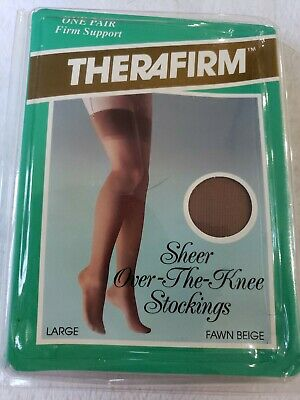 THERAFIRM THERAPEUTIC COMPRESSION HOSIERYOVER KNEE Firm support Large Fawn BEIGE