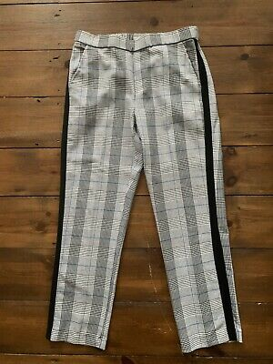 Girls Zara Age 13 - 14 Years Trousers Grey Check Black Side Tape