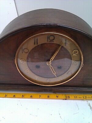 An Old Chiming Mantel Clock In Full Working Order With A Ting Tang Chime