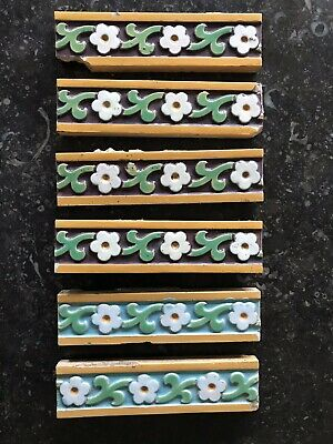 Six Narrow Minton Hollins & Co Victorian Border Tiles.