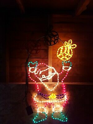 Outdoor Christmas Rope Light Silhouette Moving Santa juggling presents