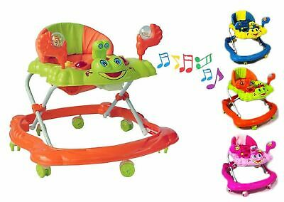 Blue Baby Walker First Steps Push Along Bouncer Activity Music Ride Car Melody
