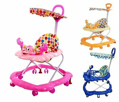 Blue/Y Baby Walker First Steps Push Along Bouncer Activity Music Ride Car Melody
