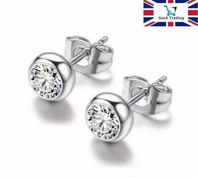 9K White Gold Filled Stud Earrings Made With 0.5 Carat Swarovski Crystals