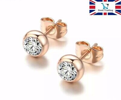18K Real Rose Gold Filled Stud Earrings Made With Swarovski Crystals Gift