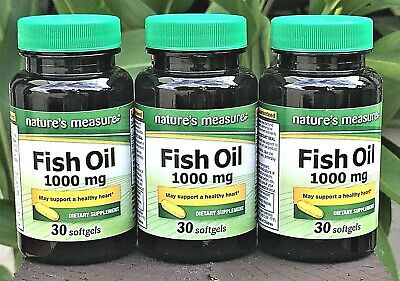 3 OMEGA-3 Fish Oil HIGH EPA DHA Non GMO By Natures Measure Softgels With IRON