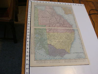 "Vintage 22 x 14""  MAP 1895--QUEENSLAND, NEW SOUTH WALES, VICTORIA AUSTRALIA"