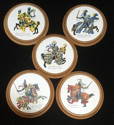 Vintage Set of 5 Heraldic/Knights Ceramic Wall Plaques With Wooden Surround