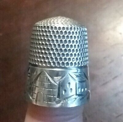 Antique Sterling Silver Thimble 11 Bright Cut Houses Flowers Collectible