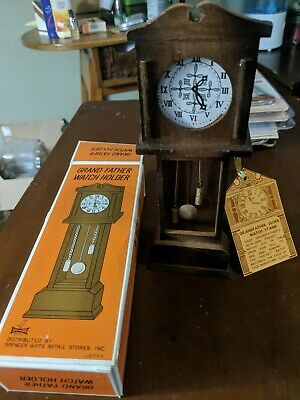 Rare Vintage Grandfather Watch Holder Wood Made In Japan With Original Box