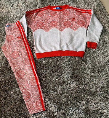 Adidas Girls Leggings And Jumper Set Age 9-10 Years - Grey/Red