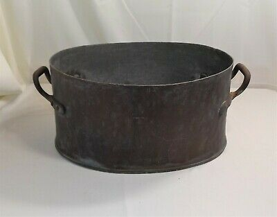 Antique Vintage Big and Heavy Hand Made Copper Kettle Boiler Scalding Tub, HT