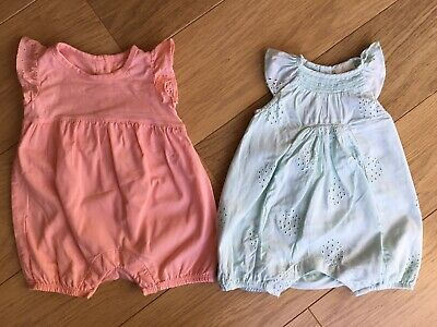 Next Marks & Spencer M&S Baby Girl Short Summer Rompers X2 0-3 Up To 3 Months 💛