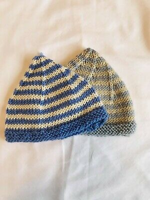 Handmade Knitted Striped Supersoft Baby Beanie Hats age 0-3 Months