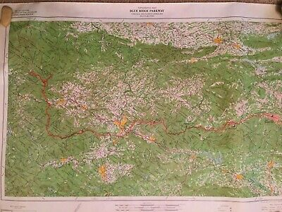 VINTAGE MAP OF the Blue Ridge Parkway Virginia and North ...