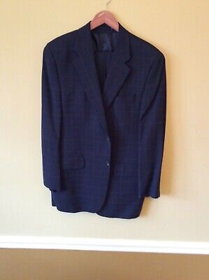 Ralph Lauren (Polo University) Blue (Window Pane) Men's $595 Wool Suit 40R