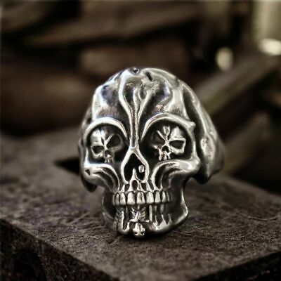 Unique Stainless Steel Gothic Skull Ring Mens Biker Rings Punk Jewelry