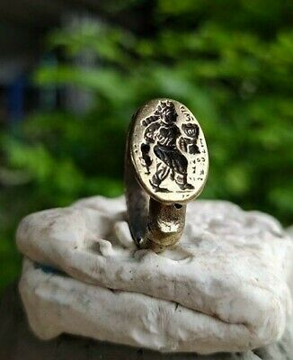 Old  Rare Alexander King  Afghan  Turkish  Intaglio  Islamic Bronze Ring 8.5 US
