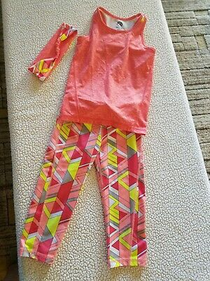 Girls athletic wear, 3 piece outfit, CRAZY 8 ACTIVE, Capri, tank, headband, size