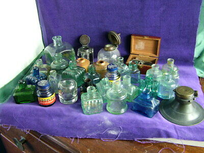 Collection antique 18th & 19th  century mostly glass  inkwells desktop writing