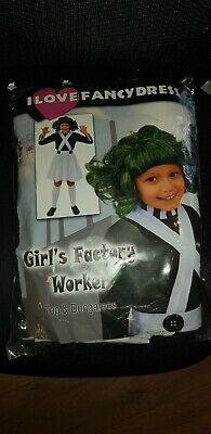 Girls Factory Worker, Top, Dungarees, Green Wig, White Gloves Size 10-12 (Large)