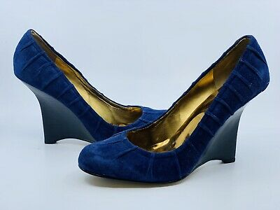 Guess Woman/'s Heels Rolene 2 D Blue Suede Sz 9.5 New  I918