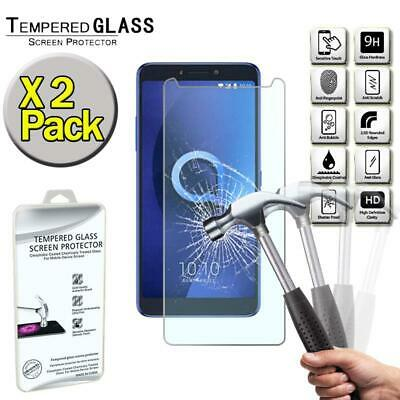 """X2 Pack Genuine Tempered Glass Screen Protector Cover For Alcatel 3V (2018) 6.0"""""""