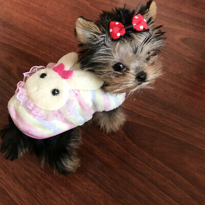 Cute Yorkie Dog Clothes Warm Hoodie Pet Puppy Sweater for Cat Chihuahua XXXS