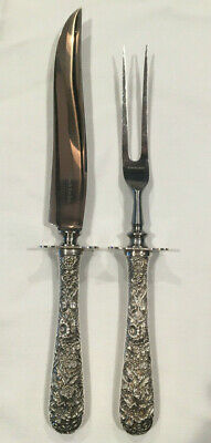 Antique Repousse Sterling Silver Carving Set Knife Fork with Guard S Kirk & Son