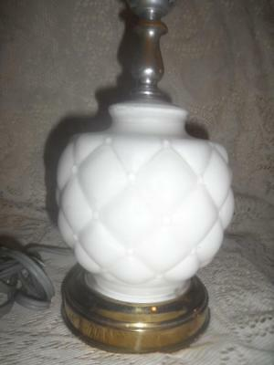 Antq White Satin Consolidated Glass Quilted Diamond w/Brass Base Vanity Lamp