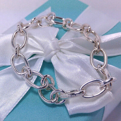 Tiffany Co Oval Link Clasping End Bracelet Medium 7.5 Sterling Silver 925 Italy