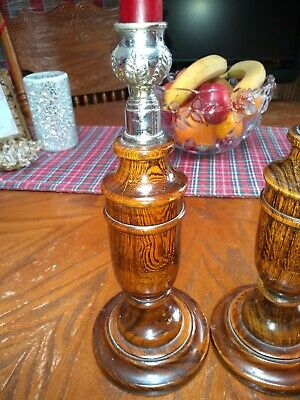 Pair Of Wooden Candle Stick Holders