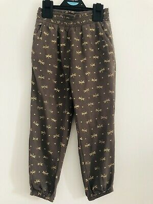H&M Khaki Gold Dragonfly Print Soft Viscose Luxe Joggers Trousers Girl 2-3 Years